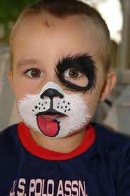 getting ready for halloween dog face painting for childrens