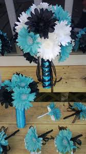 Black White Turquoise Teal Blue by 15 Piece Black White Turquoise Malibu Blue Daisy Bridal Bouquet