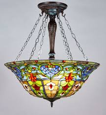Glass Ceiling Fixture by New Legend Tiffany Style Stained Glass Victorian 3 Light Inverted