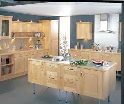 shining maple kitchen cabinets and blue wall color kitchen and