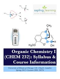 organic chemistry i chem 232 syllabus