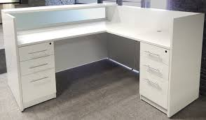 White L Shape Desk Shaped White Reception Desk W Frosted Glass Panel