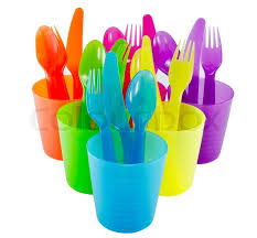 plastic ware spoon fork cup and bowl plastic ware with white isolate background