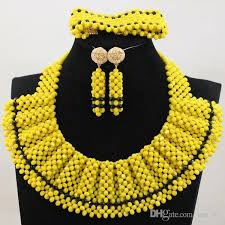 african beads necklace images Nigerian party beads necklace set 2017 lemon green white african jpg