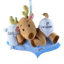 ornaments more personalized 1st boy deer on blanket