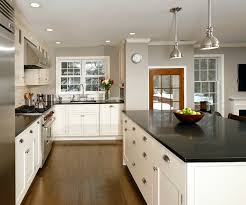 Kitchens With White Cabinets And Black Countertops White Kitchen Cabinets With Black Island Within White Kitchen