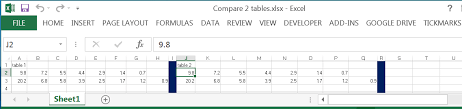 comparing 2 tables in excel and export the differences to the same