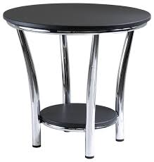 Contemporary Accent Table Maya Round End Table Black Top Metal Legs Contemporary Side