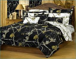 vintage wooden bedroom furniture with black and white snow camo