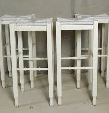 Pottery Barn Bar Stools Four Pottery Barn White Shabby Chic Bar Stools Ebth