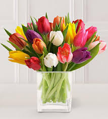 tulip bouquets heritage house florist 20 stem mixed tulip bouquet with glass vase