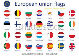 vector illustration set european union flags stock vector