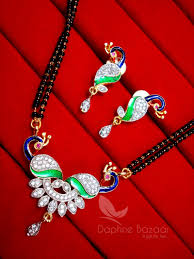 Gift For Wife Daphne Zircon Peacock Meenakari Mangalsutra For Women Gift For Wife