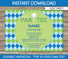 golf party invitations template u2013 blue u0026 green golf party party