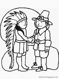 indian pilgrim peace thanksgiving coloring free