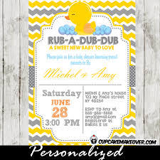 rubber duck baby shower yellow gray rubber ducky baby shower invitation personalized