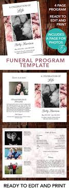 printable funeral program templates funeral template free templates