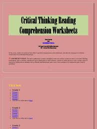 critical thinking reading comprehension worksheets reading