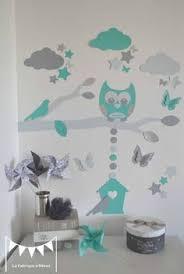décoration chambre garçon bébé stickers arbre turquoise pétrole gris hibou oiseaux décoration