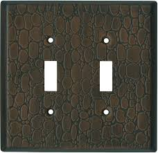Brown Leather Steel Light Switch Plate Leather