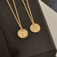 gold necklace with initial images Double sided solid gold disc initial necklace by lindsay pearson jpg