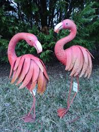 pink flamingo garden pair coastal birds metal pool pond lawn