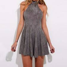 grey short a line dress featuring halter neck and lace up back on