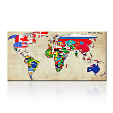 World Map Prints by Large Size Wall Art World Map Painting On Canvas Prints National