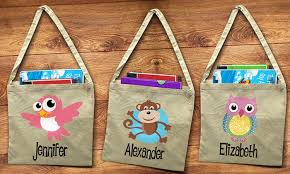 personalized library tote bags dinkleboo groupon