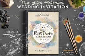 Wedding Cards Invitation Templates Pure Silver Watercolor Wedding Card Invitation Templates