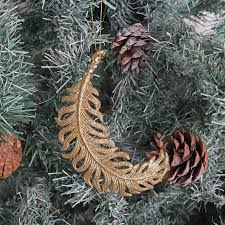Reindeer Head Christmas Tree Decorations gold glitter feather christmas tree decoration by red berry apple