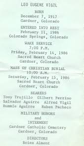 Burial Invitation Card Huerfano County Memorial Cards