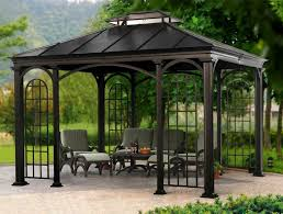 Lowes Patio Gazebo by Shop Garden Treasures 134 In W X 134 In L X 92 In H X Matte Black