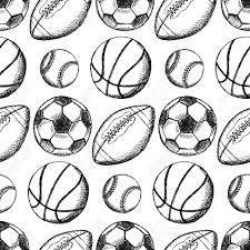 sketch soccer american football baseball and basketball ball