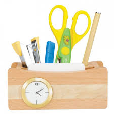 Desk Pen Stand 3 In 1 Wooden Desk Set With Clock Mobile Stand And Pen Stand