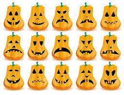 big set of 15 halloween pumpkins with mouths eyes and noses