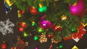 Decorate Christmas Tree Ribbon Video by Christmas Tree With Blinking Lights Golden Ribbons Ornaments And