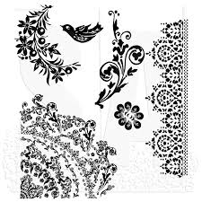 tim holtz cling mount stamps floral tattoo cms059