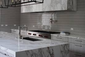 Grey Kitchen Backsplash Glossy Gray Kitchen Backsplash Tiles With Marble Hood