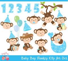 Baby Boy Monkey Theme Monkey Clipart Cute Monkey Clipart From Celialaudesigns On Etsy