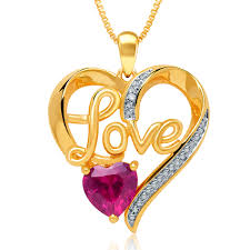love heart chain necklace images Gold over brass lab created ruby and diamond love heart pendant