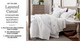 white bedding pottery barn