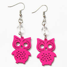 owl earrings fashion carving wood owl earrings handmade green blue orange