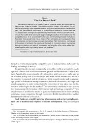 report essay sample summary understanding research science and technology parks page 2