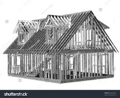 sketch style rendering cape style house stock illustration
