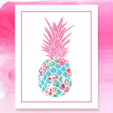 lilly pulitzer inspired pineapple print preppy pineapple