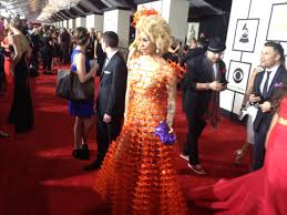 grammys 2015 joy villa wears dress made of recycled material on