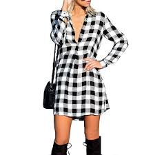 Black And White Plaid Shirt Womens Compare Prices On Black Checks Online Shopping Buy Low Price