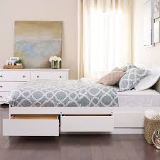 amazing white platform bed with storage with white queen bed frame