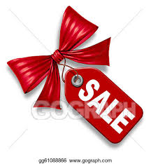 stock illustrations sale price tag with ribbon bow tie